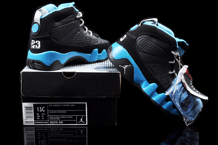 New Air Jordan 9 Black Blue For Kids