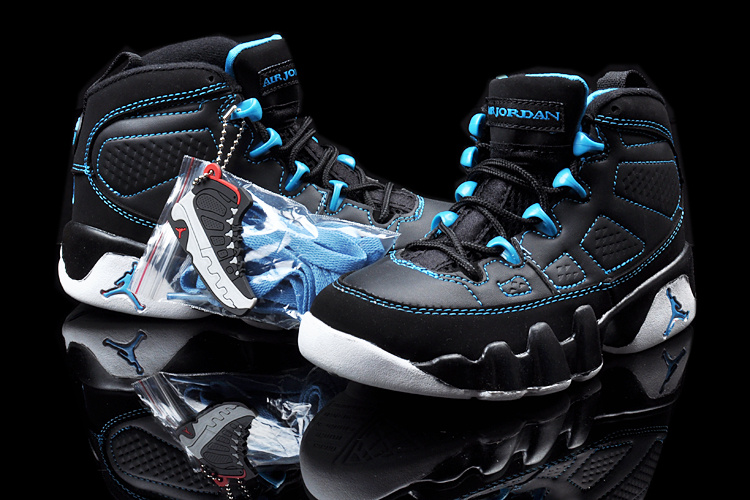 New Air Jordan 9 Black Blue White For Kids