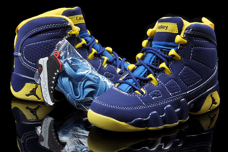New Air Jordan 9 Blue Yellow For Kids