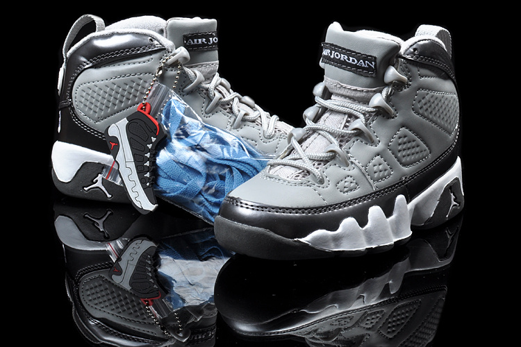 New Air Jordan 9 Grey Black White For Kids