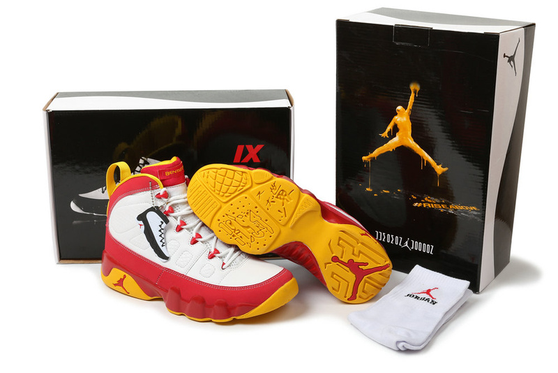 New 2012 Air Jordan 9 Hardcover White Red Yellow Shoes