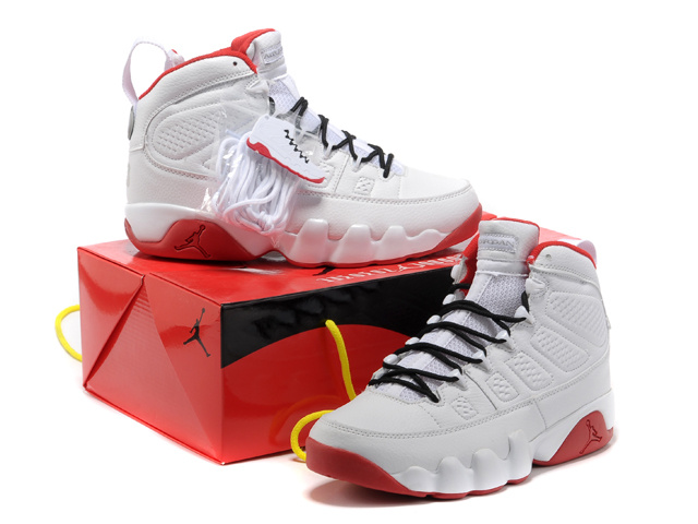 New Air Jordan 9 White Red Shoes
