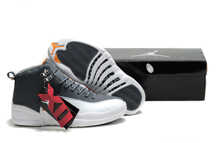 New Air Jordan Retro 12 Black White Orange Shoes