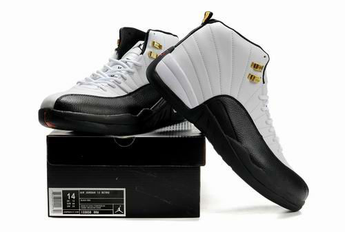 New Air Jordan Retro 12 White Black Shoes