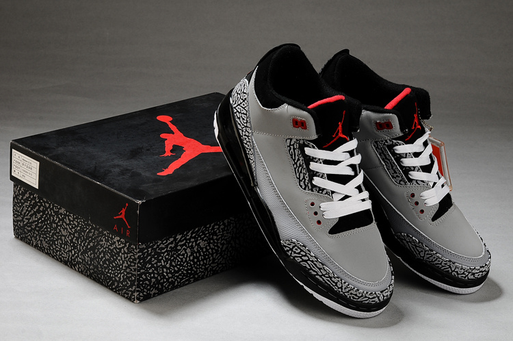 New Air Jordan Retro 3 Grey Black White Shoes