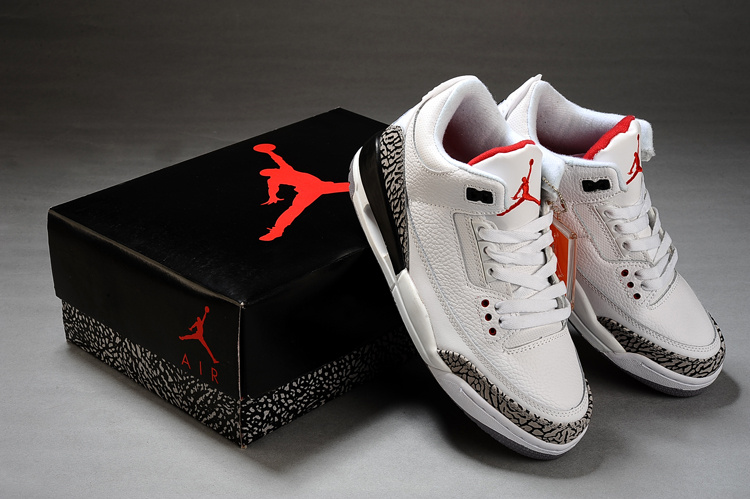 New Air Jordan Retro 3 White Grey Black Shoes