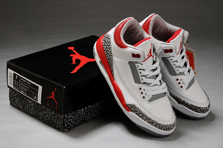 New Air Jordan Retro 3 White Grey Red Shoes
