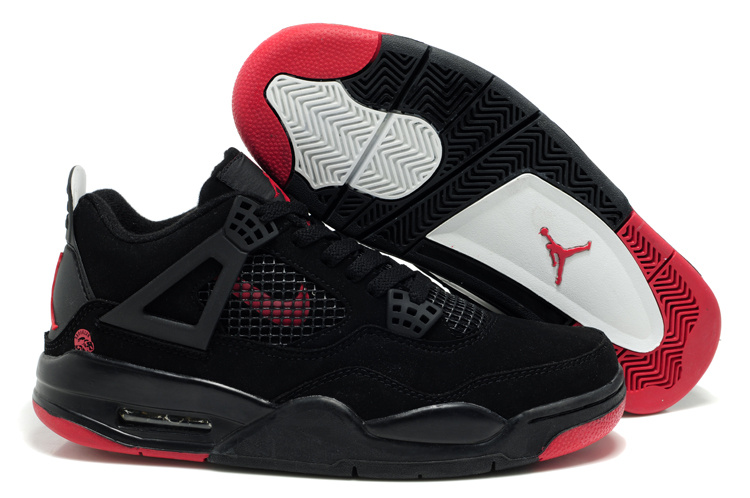New Air Jordan Retro 4 Black Red Logo Shoes
