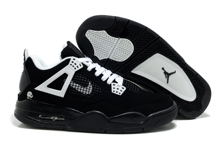 New Air Jordan Retro 4 Black White Logo Shoes