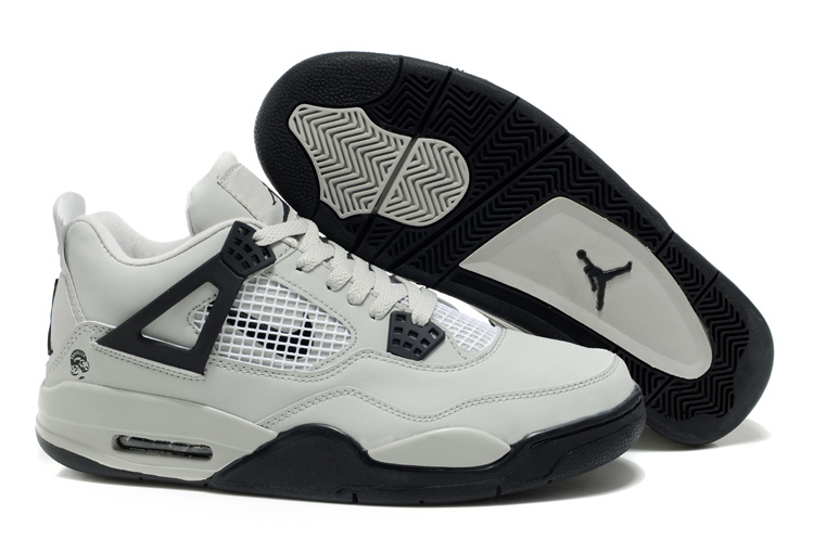 New Air Jordan Retro 4 White Black Logo Shoes