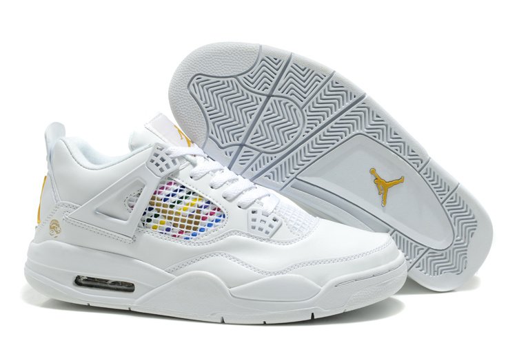 New Air Jordan Retro 4 White Yellow Logo Shoes