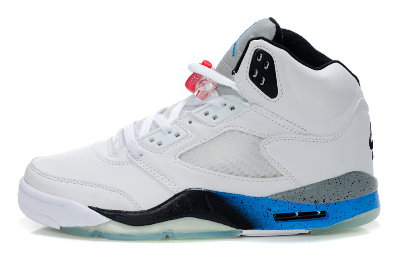 New Air Jordan Retro 5 White Black Blue Shoes