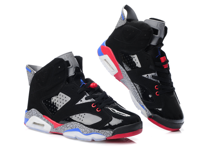 New Air Jordan Retro 6 Black Grey Red Blue Shoes