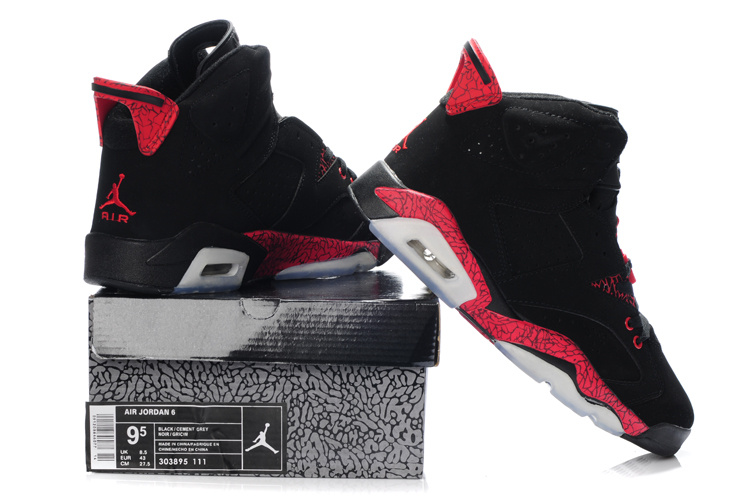 New Air Jordan Retro 6 Black Grey Red Shoes
