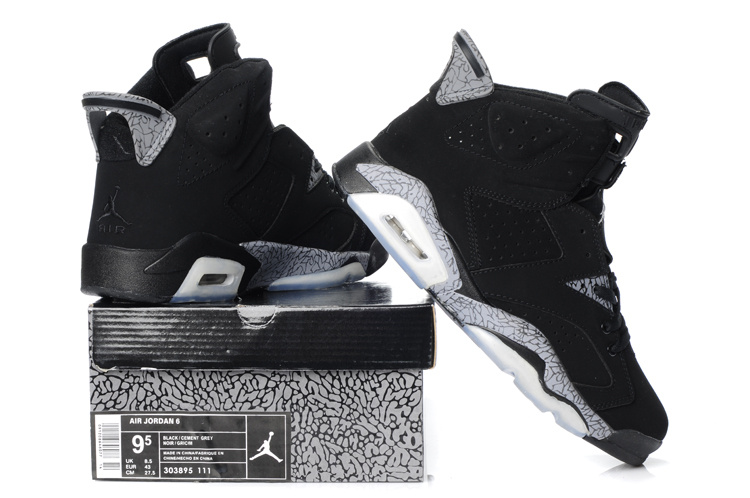 New Air Jordan Retro 6 Black Grey Shoes