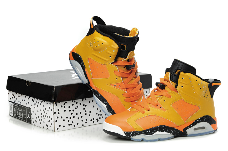 New Air Jordan Retro 6 Orange Black Grey Shoes