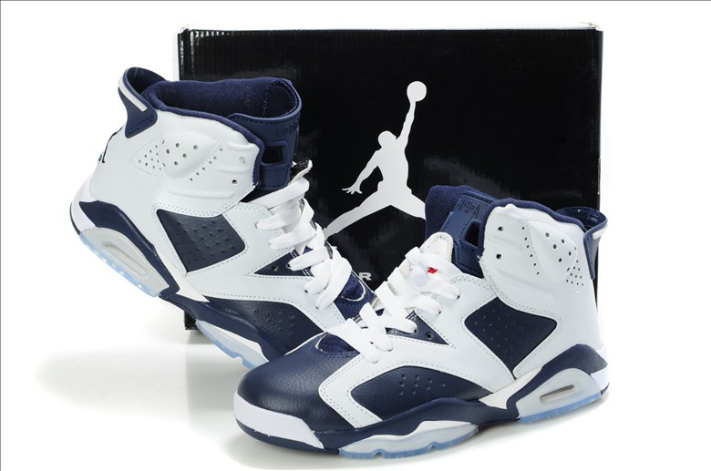 New Air Jordan Retro 6 White Blue Shoes