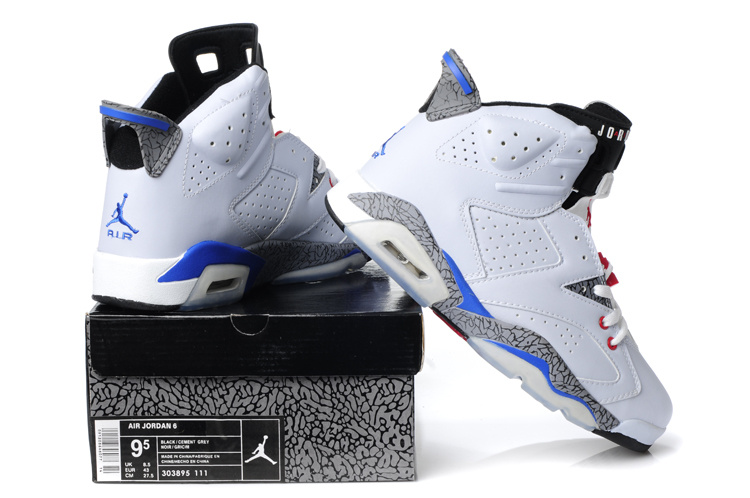 New Air Jordan Retro 6 White Cement Blue Red Shoes