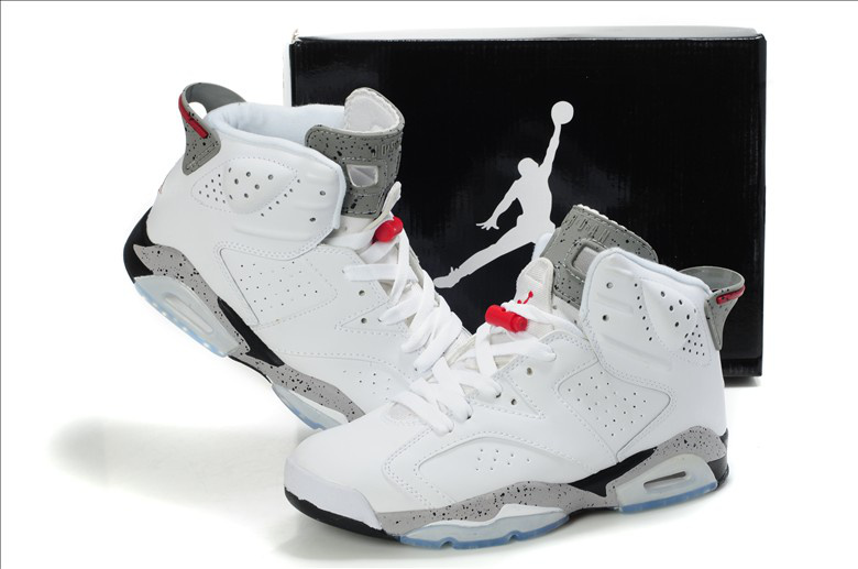 New Air Jordan Retro 6 White Grey Red Shoes