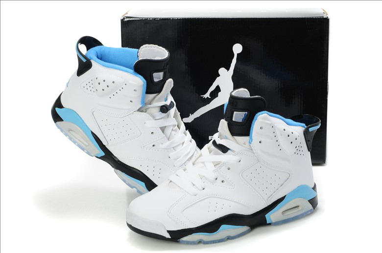 New Air Jordan Retro 6 White Light Blue Shoes