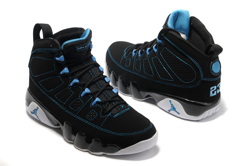 13d1f740ad053f New Air Jordan Retro 9 Black White Blue Shoes