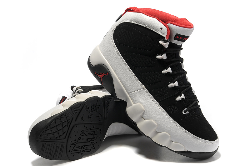 New Air Jordan Retro 9 Black White Red Shoes