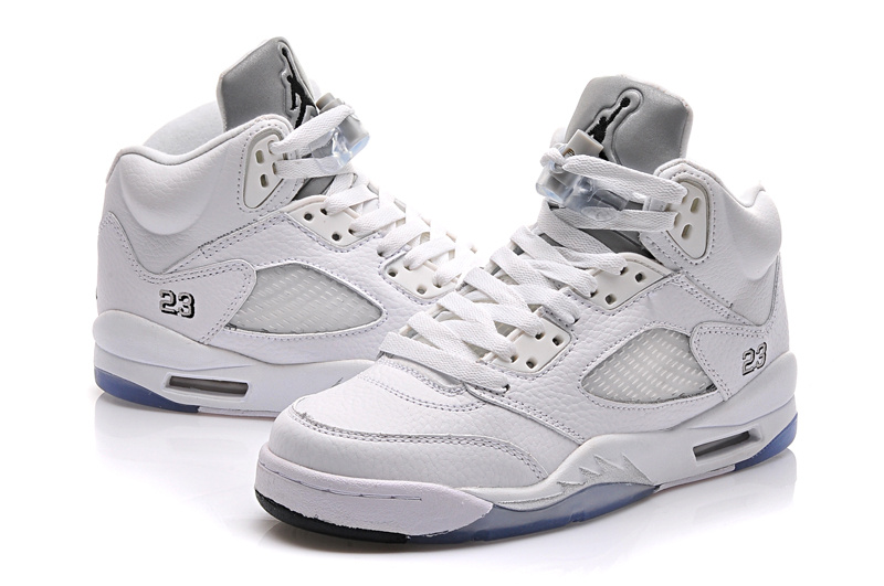 2015 All White Jordan 5 Shoes For Women