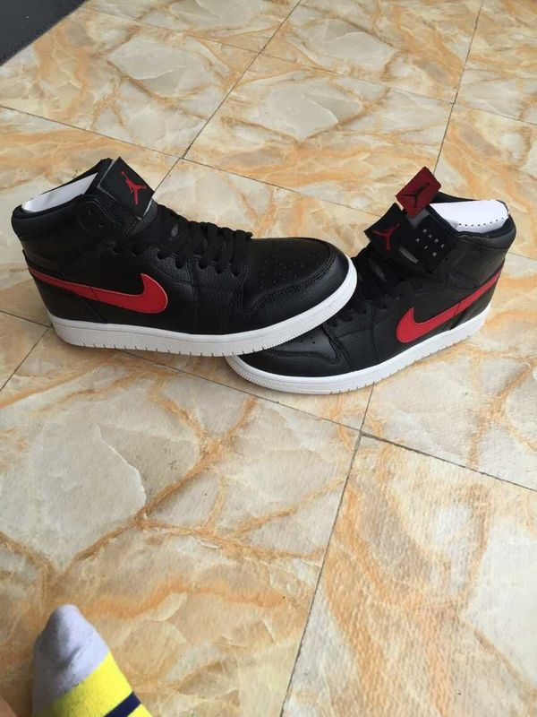 2015 Air Jordan 1 Retro Black Red Swoosh Logo Shoes