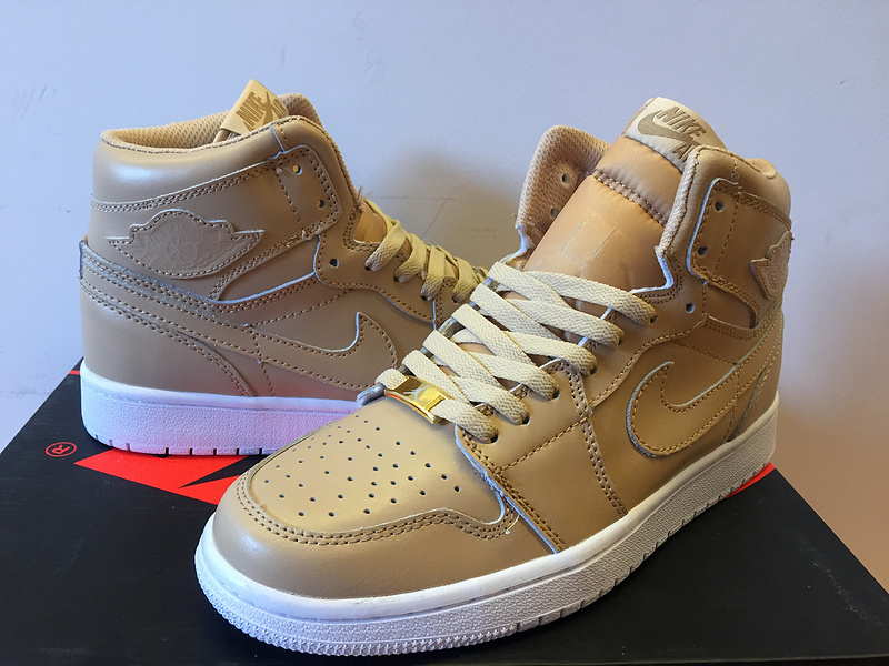 2015 Air Jordan 1 Retro Gold Yellow White Shoes