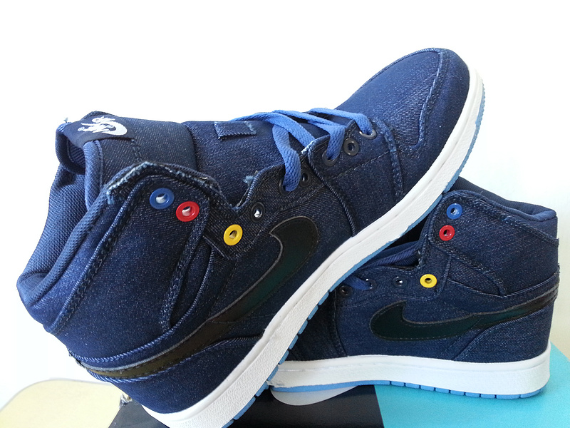 New Jordan 1 Retro Jean Clothes Dark Blue White Shoes