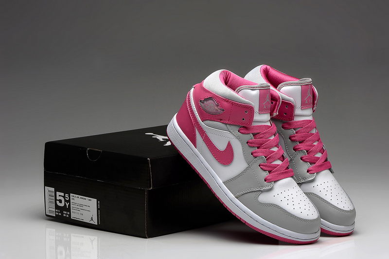 New Jordan 1 Retro White Grey Pink Shoes For Women