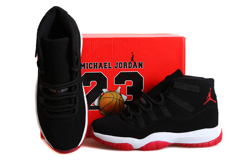 New Jordan 11 Retro Bred Nubuck Black Red Shoes
