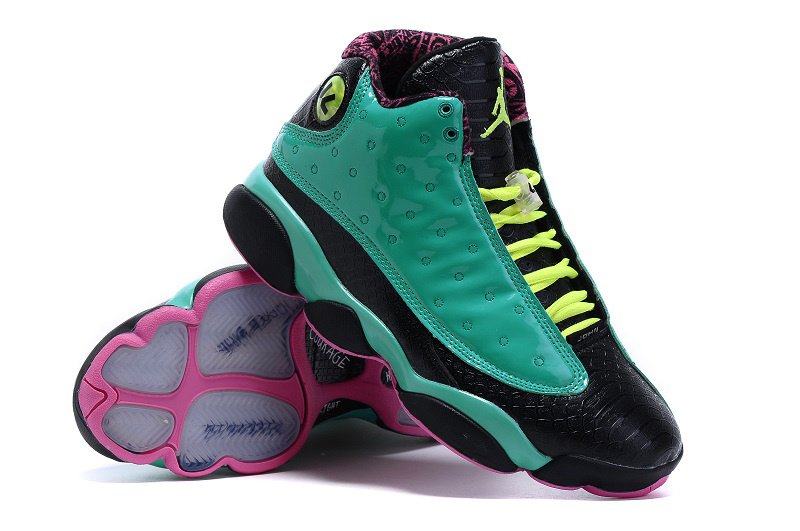 2015 Air Jordan 13 Doernbecher Green Black Pink Shoes
