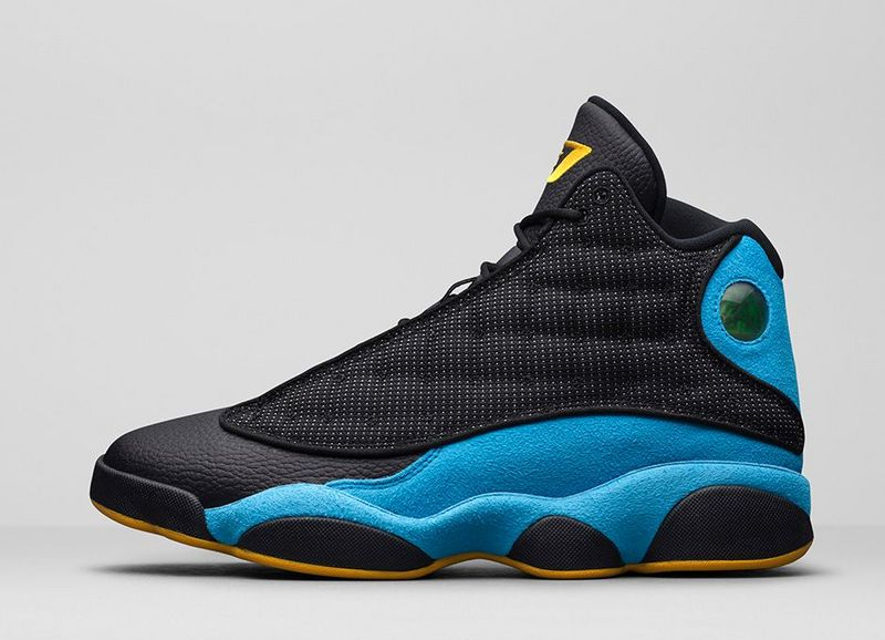 2015 Air Jordan 13 Retro Black Blue Yellow Shoes