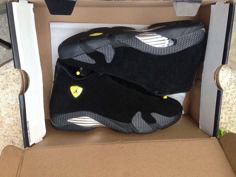 New Jordan 14 Ferrari Black Gold Shoes