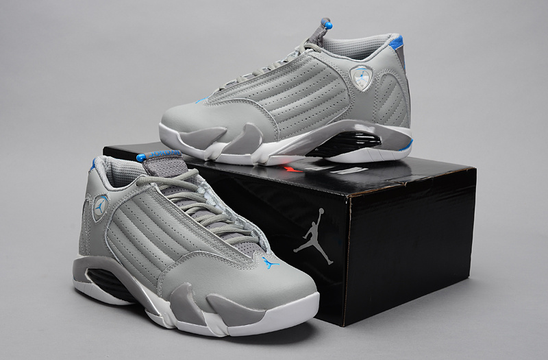 New Jordan 14 Retro Grey White Blue Shoes