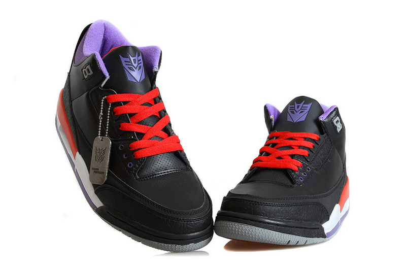 New Jordan 3 Retro Transformer Black Red Blue Shoes