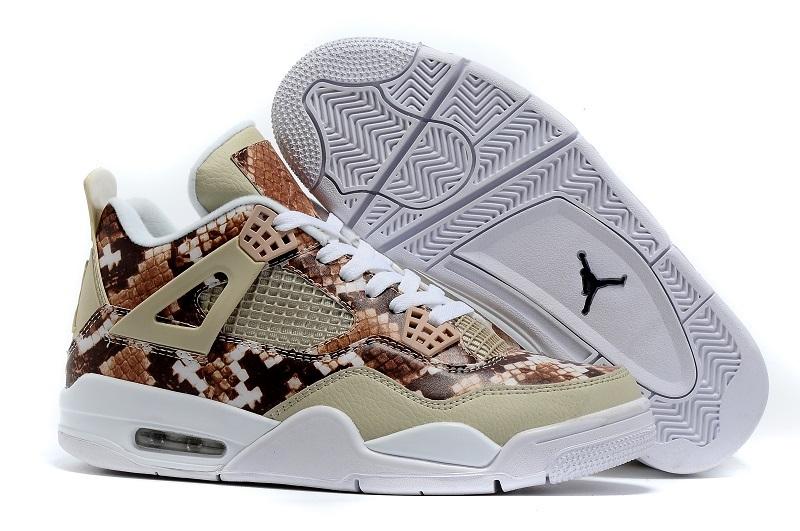 2016 Air Jordan 4 Retro Snake Skin White Coffe Shoes