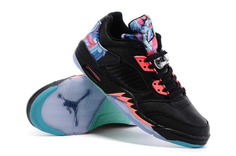 2016 Air Jordan 5 Low Black Redish Orange Shoes