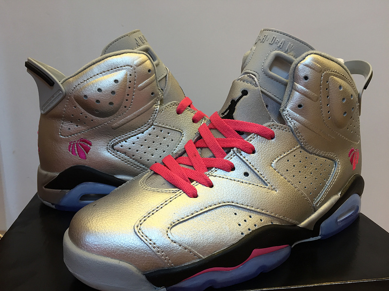 2015 Air Jordan 6 Retro Silver Red Black Shoes
