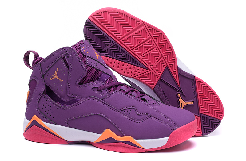 New Air Jordan 7 Purple Red Orange Shoes For Women