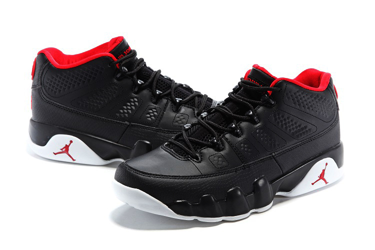 New Jordan 9 Low Black Red White