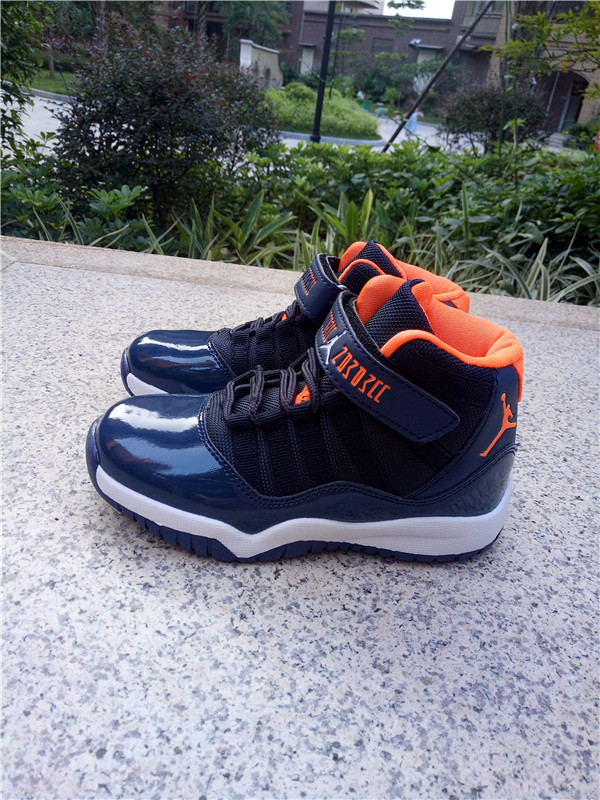 2016 Kids Air Jordan 11 Magic Blue Orange White Shoes