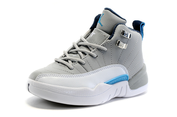 2016 Kids Jordan 12 Grey White Blue Shoes