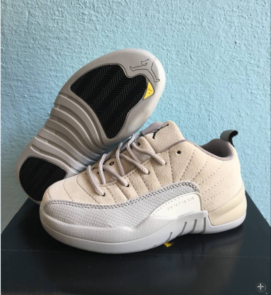 2017 Kids Air Jordan 12 Low Beige Grey Shoes