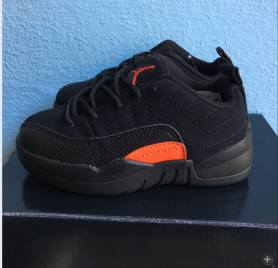 2017 Kids Air Jordan 12 Low Black Orange Shoes