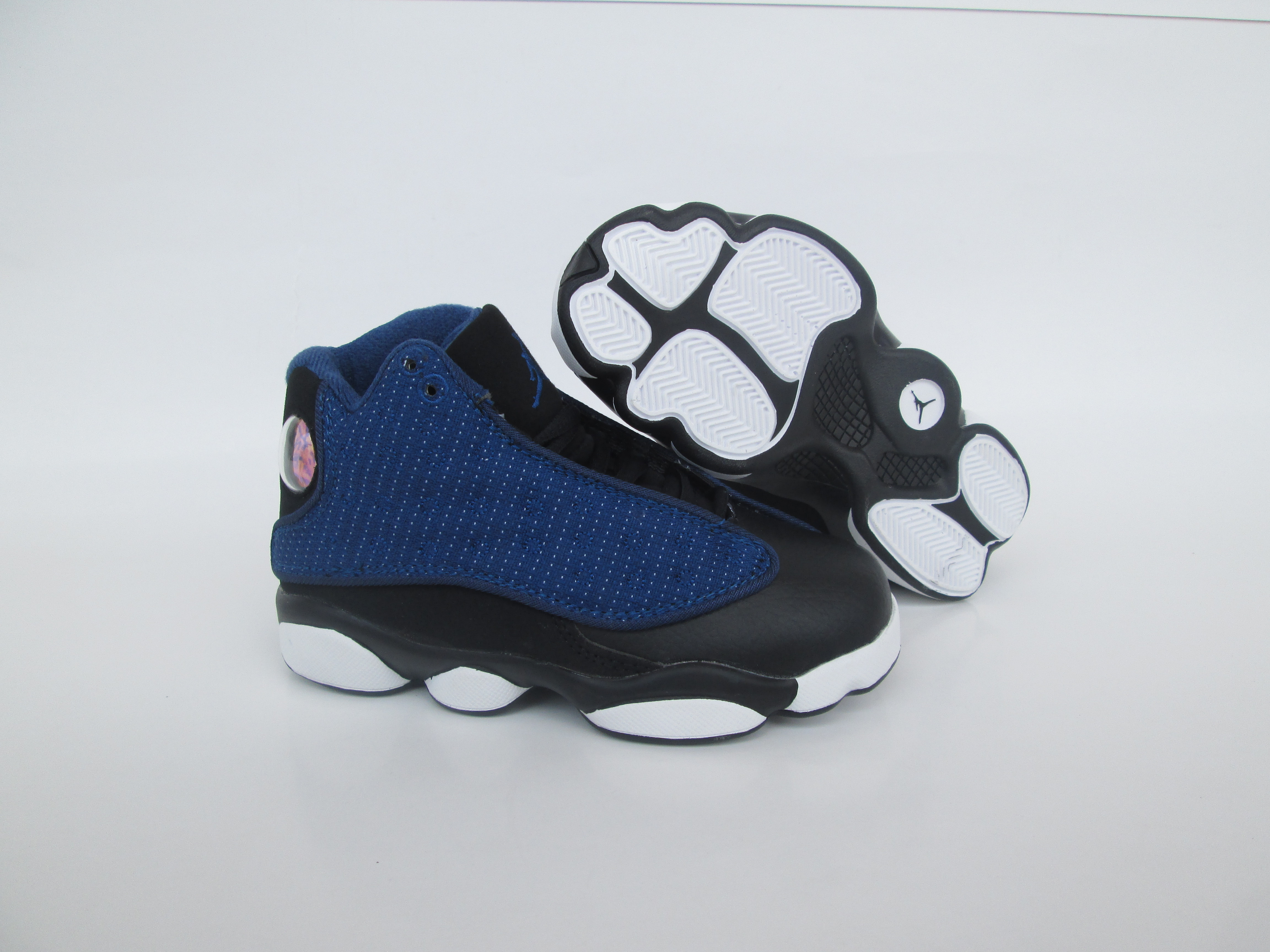 New Kids 2017 Jordan 13 Deep Blue Black Shoes