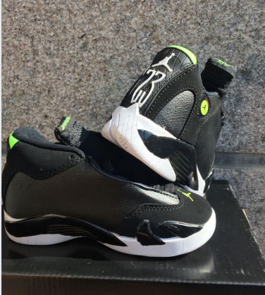 2016 Kids Air Jordan 14 Retro Black Green Shoes