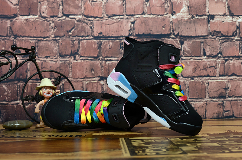 2017 Kids Jordan 6 Black Colorful