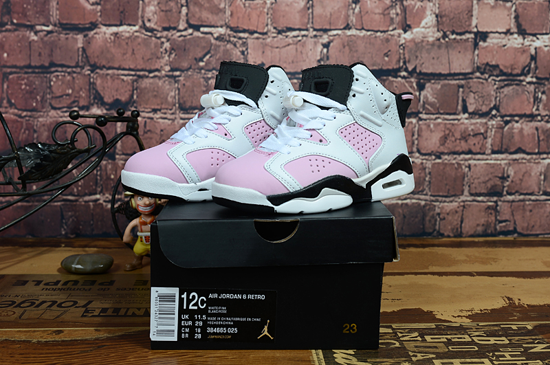 2017 Kids Jordan 6 Pink White Black